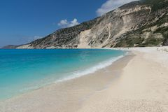Landscape of Myrtos beach, Kefalonia, Ionian islands, Greece Royalty Free Stock Image