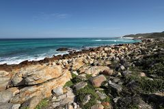 Cape of Good Hope in the Atlantic Ocean, south of Cape Town, South Africa. Royalty Free Stock Photo