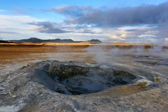 Amazing landscape in the north of Iceland near Lake Myvatn. Panoramic view in myvatn geothermal area. Beautiful landscape in Icela. Nd in an area of active royalty free stock photos