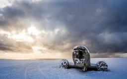 Amazing landscape of plane on beach, vik, Iceland Royalty Free Stock Image