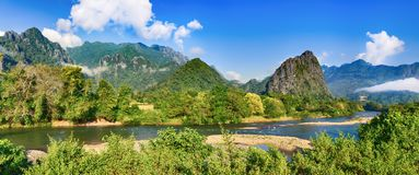 Amazing landscape of river among mountains. Laos panorama. Amazing landscape of Nam Song river among mountains. Vang Vieng. Laos panorama Royalty Free Stock Images
