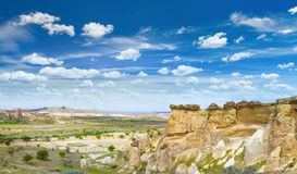 Rocks looks like mushrooms near Chavushin in Cappadocia, Turkey Royalty Free Stock Photos