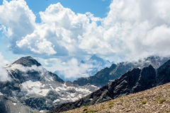 Amazing landscape of rocky mountains and blue sky, Caucasus, Russia.  stock photo