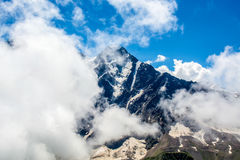Amazing landscape of rocky mountains and blue sky, Caucasus, Russia.  stock photography