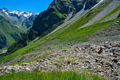 Amazing landscape of rocky mountains and blue sky, Caucasus, Russia.  royalty free stock images