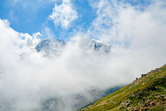 Amazing landscape of rocky mountains and blue sky, Caucasus, Russia royalty free stock photo