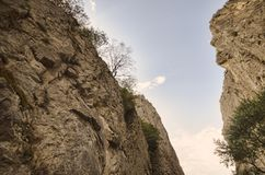Amazing landscape of rocky mountains and blue sky . Sky view between two rocks. Big Caucasus mountains. Xinaliq Guba Azerbaijan stock photo