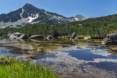 Amazing landscape of Sivrya peak and Banski lakes, Pirin Mountain Stock Photography