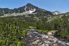 Amazing Landscape of Sivrya peak and Banski lakes, Pirin Mountain Stock Photo