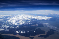 Amazing landscape from the sky. Landscape with yellow river made from the plane Stock Image