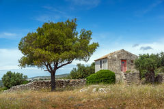 Amazing landscape with Small church and land  in Zakynthos City Royalty Free Stock Photos