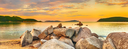 Amazing landscape at sunset. Panorama Royalty Free Stock Images