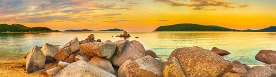 Amazing landscape at sunset. Panorama Royalty Free Stock Image