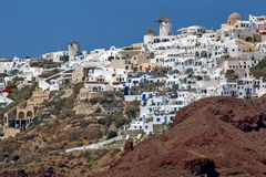 Amazing landscape to Oia town, Santorini island, Greece Royalty Free Stock Photography