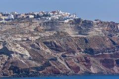 Amazing landscape to Oia town, Santorini island, Greece Stock Images