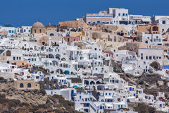 Amazing landscape to Oia town from the sea, Santorini island, Greece Royalty Free Stock Photo