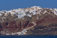 Amazing landscape to Oia town from the sea, Santorini island, Greece Royalty Free Stock Image