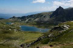 Landscape of The Twin lake, The Seven Rila Lakes, Bulgaria Royalty Free Stock Images