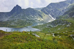 Amazing Landscape of The Twin lake, The Seven Rila Lakes. Bulgaria Royalty Free Stock Photo