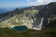 Landscape of The Twin lake, The Seven Rila Lakes, Bulgaria Royalty Free Stock Photography