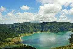 Amazing landscape view crater volcano lake in Sao Miguel island of Azores in Portugal in turquoise color water Stock Image