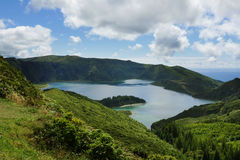 Amazing landscape view crater volcano lake in Sao Miguel island of Azores in Portugal in turquoise color water Stock Photos