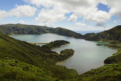 Amazing landscape view crater volcano lake in Sao Miguel island of Azores in Portugal in turquoise color water Stock Photo