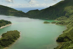 Amazing landscape view crater volcano lake in Sao Miguel island of Azores in Portugal in turquoise color water Royalty Free Stock Image