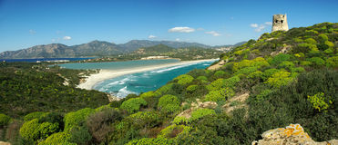 Amazing landscape at Villasimius Beach royalty free stock photography