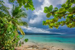 Palm trees over tropical lagoon with wild beach Royalty Free Stock Photos
