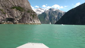 Amazing landscapes on calm water of Pacific on background mountains in Alaska. stock video footage