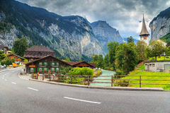 Amazing Lauterbrunnen town with high cliffs,Bernese Oberland,Switzerland,Europe Stock Photography