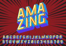 Amazing Lettering 3D Vintage Letters With Fluorescent Neon Lights Royalty Free Stock Photos
