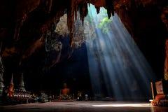 Amazing light in Khao Luang Cave in Phetchaburi Province,Thailan Royalty Free Stock Photos