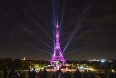 Amazing Light Show of Eiffel Tower stock images