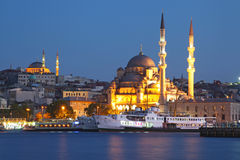 Amazing lighting Istanbul after sunset Stock Images