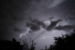 Amazing lightning. Lightning in the sky at night Stock Image