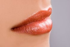 Amazing lips. Amazing red lips with texture, by profile,  clean skin Stock Image