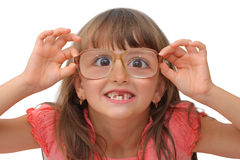 Amazing little girl. In funny glasses isolated on white background Stock Image