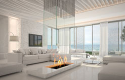 Amazing Loft Living room Interior with seascape view stock illustration