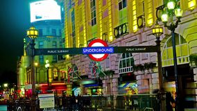 Amazing London Picadilly circus underground sign hyper time lapse stock video
