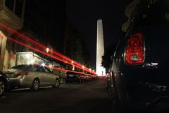 Bunker Hill in Boston. Amazing long exposure shot of bunker Hill with the car tails in Boston at night Royalty Free Stock Images