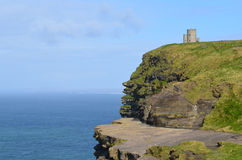 Amazing Look at O`Brien`s Tower on the Cliff`s of Moher Royalty Free Stock Photography