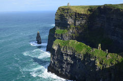 Amazing Look at the Sea Cliff`s of Moher in Ireland Royalty Free Stock Photos