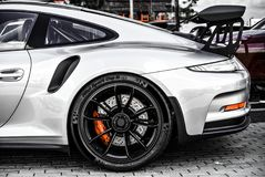 Amazing looking Porsche Carrera GT3 RS. Beautiful photo of rare Porsche Carrera GT3 RS with black spoiler and rims Royalty Free Stock Photography
