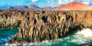 Amazing Los Hervideros lava`s caves in Lanzarote island, popular Royalty Free Stock Photography
