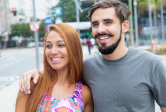 Amazing love couple outdoor in the city Stock Image