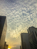 Amazing mammatus clouds over Bangkok, Thailand, with tall buildi Stock Photo