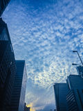 Amazing mammatus clouds over Bangkok, Thailand, with tall buildi Royalty Free Stock Photography