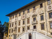 Amazing mansion at Cavalieri Square in Pisa - The Carovana Palace called Scuola Normale Superiore University - Tuscany royalty free stock photography